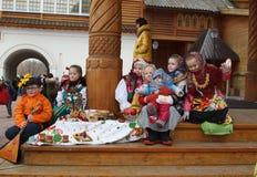 星期的庆祝薄煎饼(Maslenitsa)在Kolomenskoje公园 库存图片