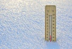 水星木温度计 库存照片
