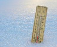 水星木温度计 免版税库存照片