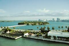 星海岛鸟瞰图在迈阿密南海滩邻里  免版税库存照片