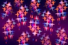 以星的形式五颜六色的透镜火光 免版税图库摄影