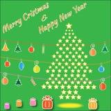 从星的Christmass树 免版税库存照片
