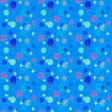 星系无缝的样式 星形和行星 蓝色宇宙背景 免版税图库摄影