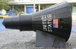 水星胶囊在纽约科学冲洗的火箭队公园霍尔  免版税库存照片