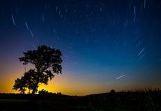 星足迹 与北部半球和星的夜风景 免版税图库摄影