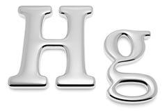 水星金属Hg标志特写镜头视图 免版税库存图片