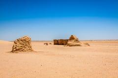 星际大战电影的集合在突尼斯沙漠仍然站立 免版税库存照片