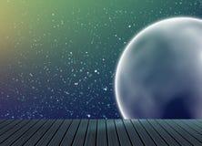 星系空间样式与木地板的背景纹理在演播室 免版税库存照片