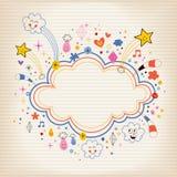 星破裂动画片云彩形状横幅框架被排行的便条纸背景 免版税图库摄影