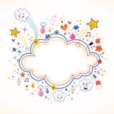星破裂动画片云彩形状横幅框架 免版税库存图片