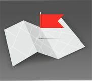 映射与在黑暗的背景的红色别针 免版税库存图片