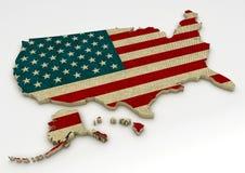 映射与美利坚合众国的旗子白色背景的 免版税库存图片