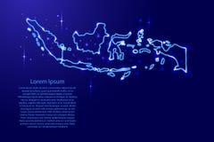 映射从蓝色等高的网络的印度尼西亚,光亮空间sta 向量例证