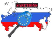 映射俄国 对俄罗斯的欧盟制裁 法官锤子欧盟,旗子和象征 3d例证 隔绝  免版税库存图片