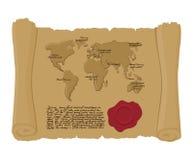 映射古老纸卷世界与国王封印的  老文件 Ar 免版税库存图片