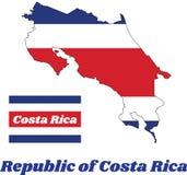 映射哥斯达黎加共和国的概述和旗子蓝色红色和白色颜色的 免版税库存图片