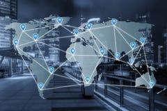 映射在世界地图上的别针平的网络与网络连接 库存图片