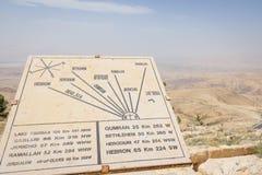 映射在登上Neboin约旦顶部摩西观看了圣洁La的地方 免版税库存照片