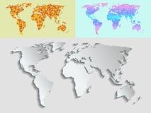 映射地球地球等高概述剪影世界地图绘图纹理传染媒介例证 免版税库存照片