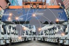 映射容器货物f的全球性后勤学合作连接 免版税库存照片