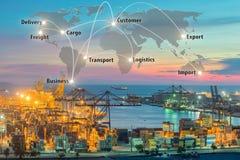 映射容器货物的全球性后勤学合作连接 免版税库存图片