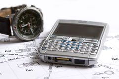 映射电话手表 免版税库存照片