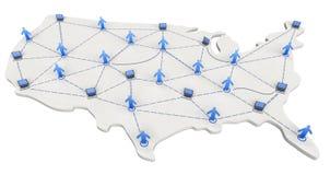 映射网络连接美国 免版税库存照片