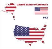 映射美国,水平的条纹的概述红色和白色与在一个蓝色领域的五十个白色星 库存例证
