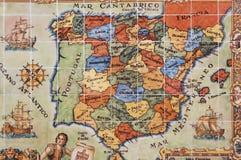 映射葡萄牙西班牙 免版税库存图片