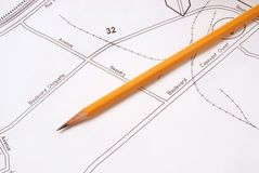 映射铅笔 免版税库存图片