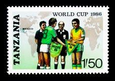映射,队上尉和官员,世界杯足球赛1986年-墨西哥serie,大约1986年 库存图片