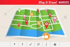 映射&旅行标记-向量集 库存图片