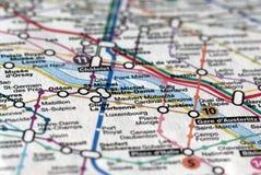 映射巴黎地铁 免版税库存照片