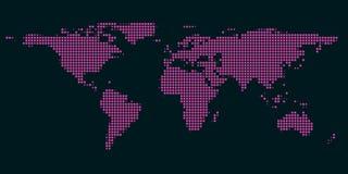 映象点与斑点光的世界地图 免版税库存图片