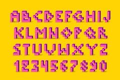 映象点减速火箭的电子游戏字体 80个s减速火箭的字母表字体 库存照片