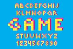 映象点减速火箭的电子游戏字体 80个s减速火箭的字母表字体 库存图片