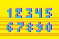 映象点减速火箭的电子游戏数字 80个s减速火箭的字母表字体 库存图片