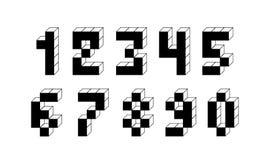 映象点减速火箭的电子游戏数字 80个s减速火箭的字母表字体 免版税库存图片