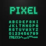 映象点字体、传染媒介信件、数字和标志在老计算机被带领的显示 8位电子游戏字体 减速火箭的数字式abc 向量例证