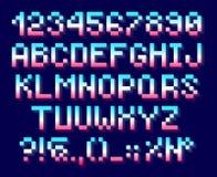 映象点字体、字母表和数字 库存图片