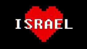 映象点心脏以色列词文本小故障干涉屏幕无缝的圈动画背景新的动态减速火箭的葡萄酒 皇族释放例证