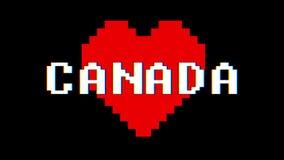 映象点心脏加拿大词文本小故障干涉屏幕无缝的圈动画背景新的动态减速火箭的葡萄酒 库存例证