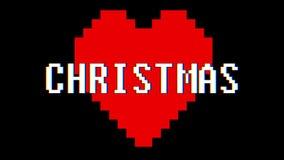 映象点心脏圣诞节词文本小故障干涉屏幕无缝的圈动画背景新的动态减速火箭的葡萄酒 向量例证