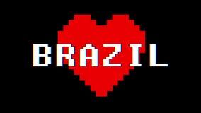 映象点心脏巴西词文本小故障干涉屏幕无缝的圈动画背景新的动态减速火箭的葡萄酒 皇族释放例证