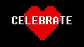 映象点心脏庆祝词文本小故障干涉屏幕无缝的圈动画背景新的动态减速火箭的葡萄酒 库存例证
