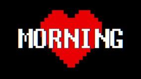 映象点心脏早晨词文本小故障干涉屏幕无缝的圈动画背景新的动态减速火箭的葡萄酒 库存例证