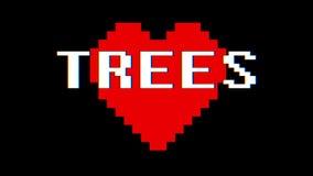 映象点心脏树措辞文本小故障干涉屏幕无缝的圈动画背景新的动态减速火箭的葡萄酒 皇族释放例证