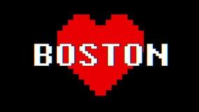 映象点心脏波士顿词文本小故障干涉屏幕无缝的圈动画背景新的动态减速火箭的葡萄酒 向量例证