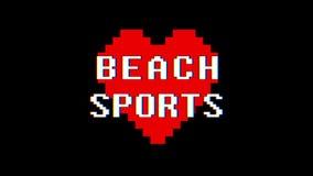 映象点心脏海滩炫耀词文本小故障干涉屏幕无缝的圈动画背景新动态减速火箭 皇族释放例证