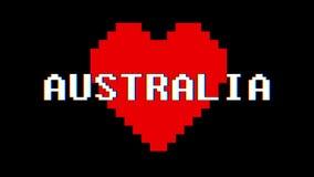 映象点心脏澳大利亚词文本小故障干涉屏幕无缝的圈动画背景新的动态减速火箭的葡萄酒 皇族释放例证